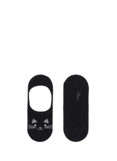 Mavi Kedi Baskılı Babet Çorabı Siyah